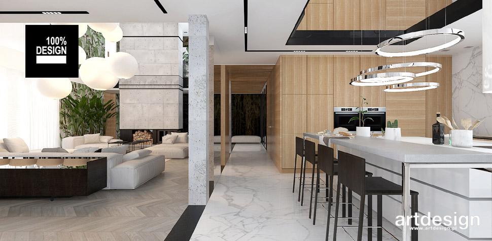 salon z kuchnią wnętrza projekty