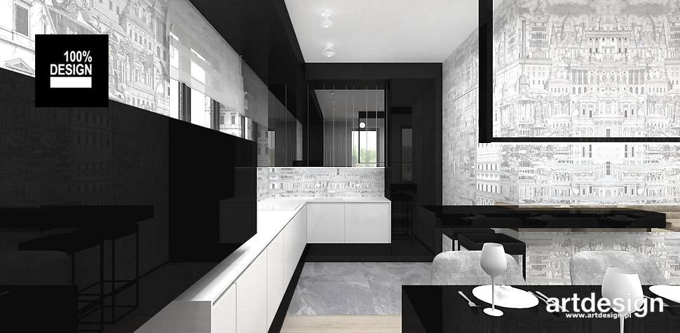 biało czarne wnętrza design