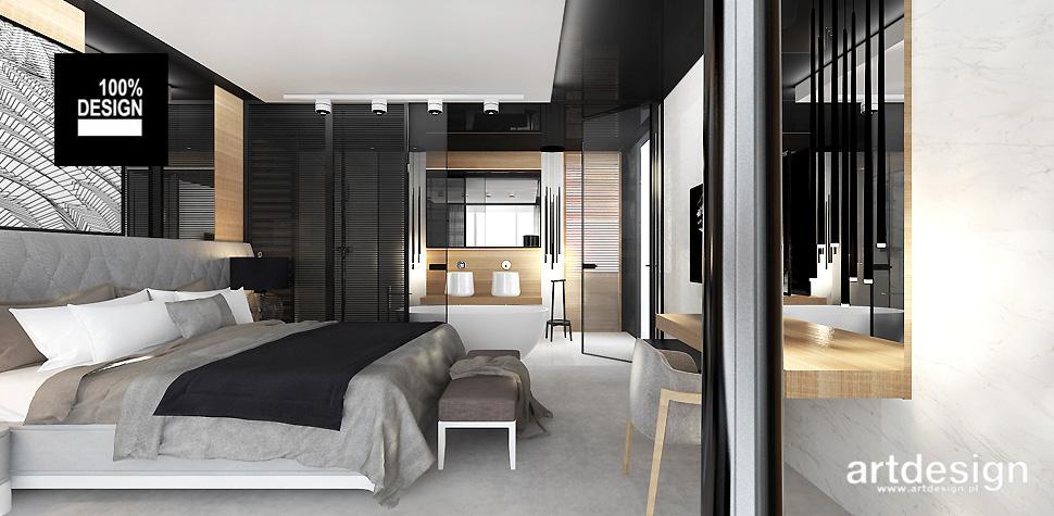 sypialnia połączona z łazienka