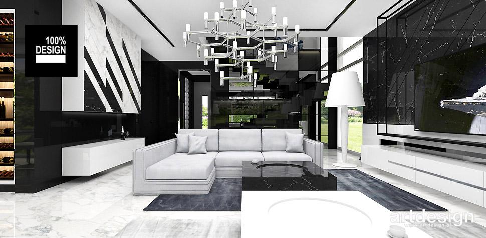 nowoczesne wnętrze czarno białe