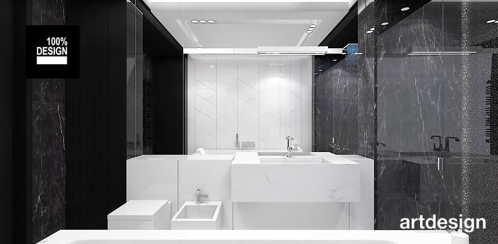 elegancka łazienka biało czarna