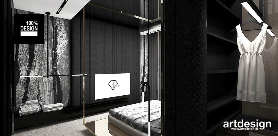 sypialnia z garderobą aranżacja wnętrza