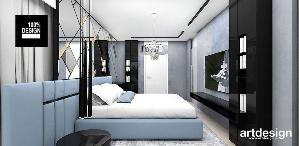 niebieska sypialnia projekt wnętrze