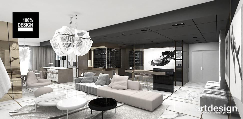 salon z kuchnią w apartamencie