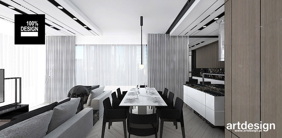 salon połączony z kuchnia