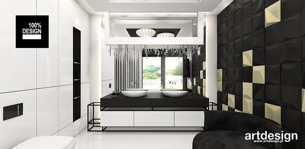 projektowanie biało złota łazienka wnetrza