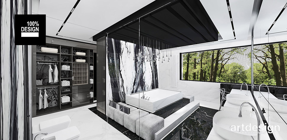 wnętrza biało czarne design