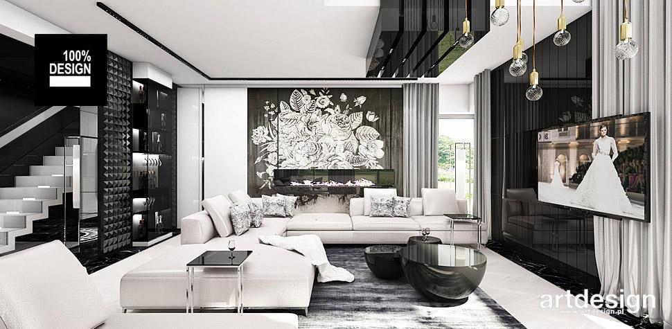 projekty wnętrza biało czarne