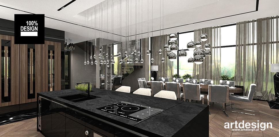 projektowanie wnętrz kuchnia czerń drewno
