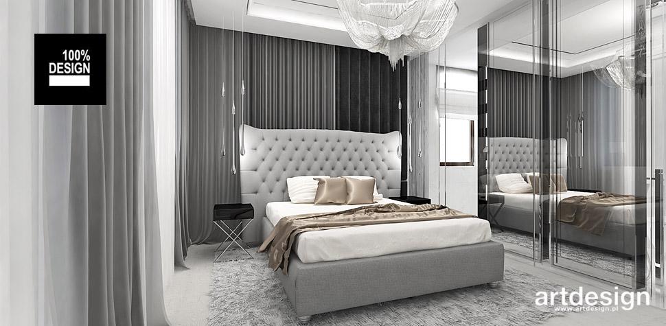biało szara sypialnia wnętrza