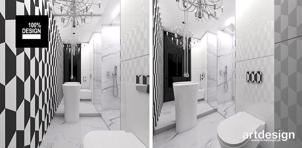 biało czarna łazienka wnętrza