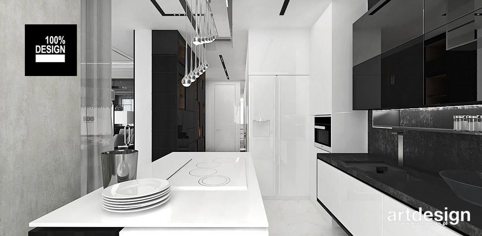 czarno biała kuchnia projekt wnętrza