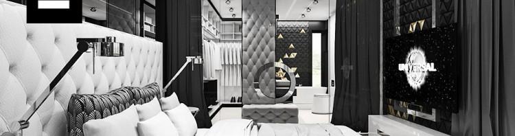 biało czarna sypialnia
