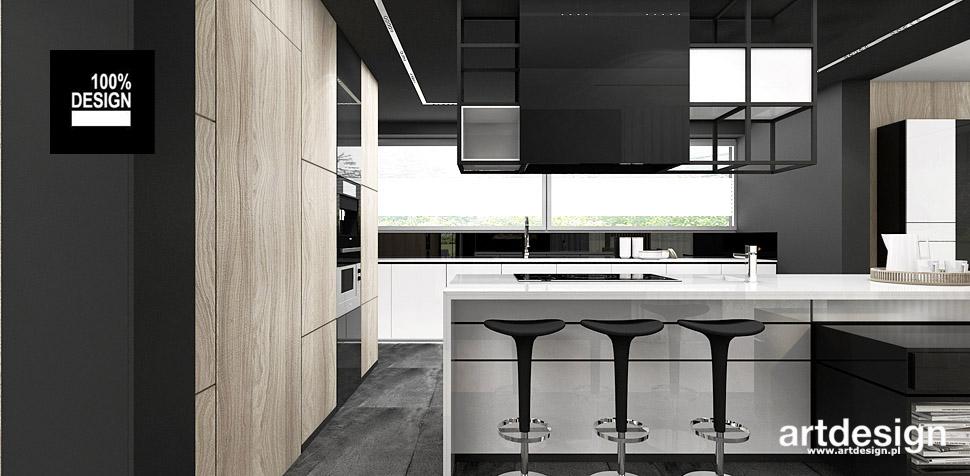 kuchnia biel drewno projekt wnętrz