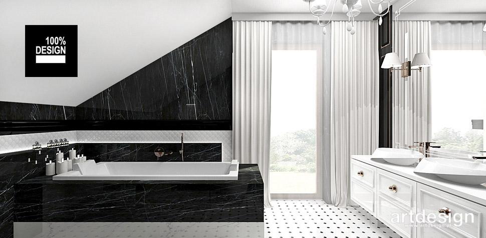 projektowanie biało czarnej łazienki