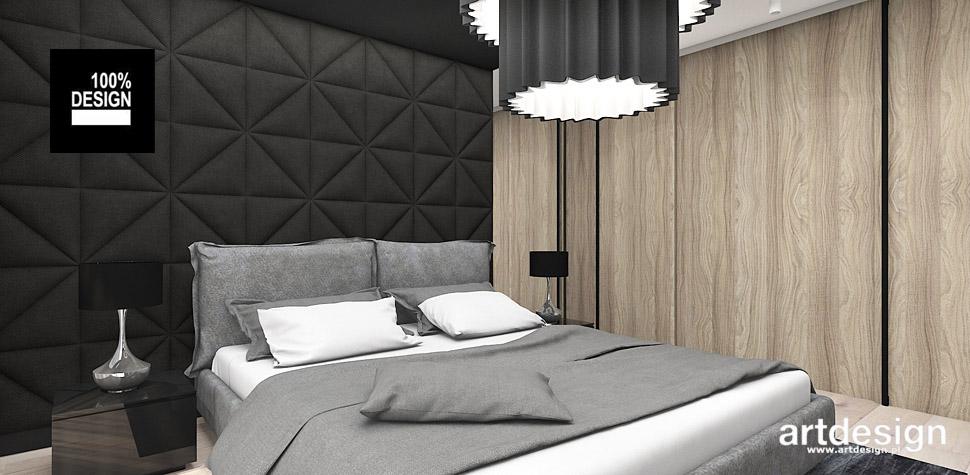 sypialnia projekt wnętrza czarny zagłówek