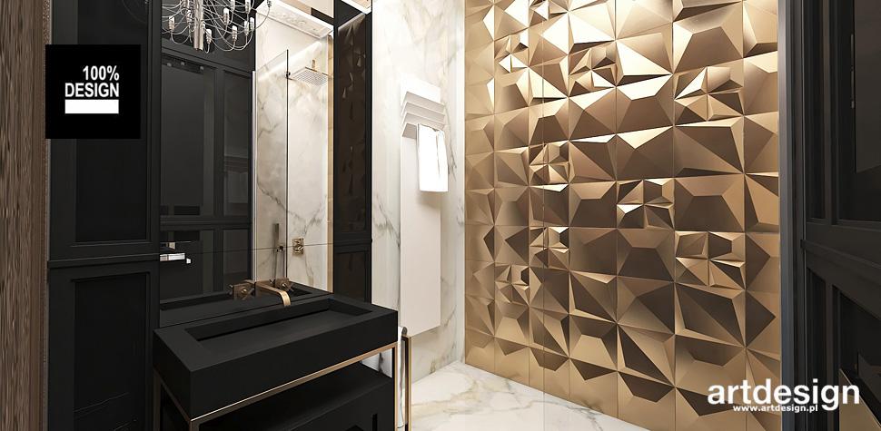 biała złota łazienka wnętrza aranżacja