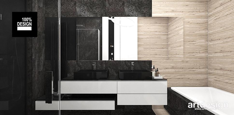 projekty łazienek drewno czerń