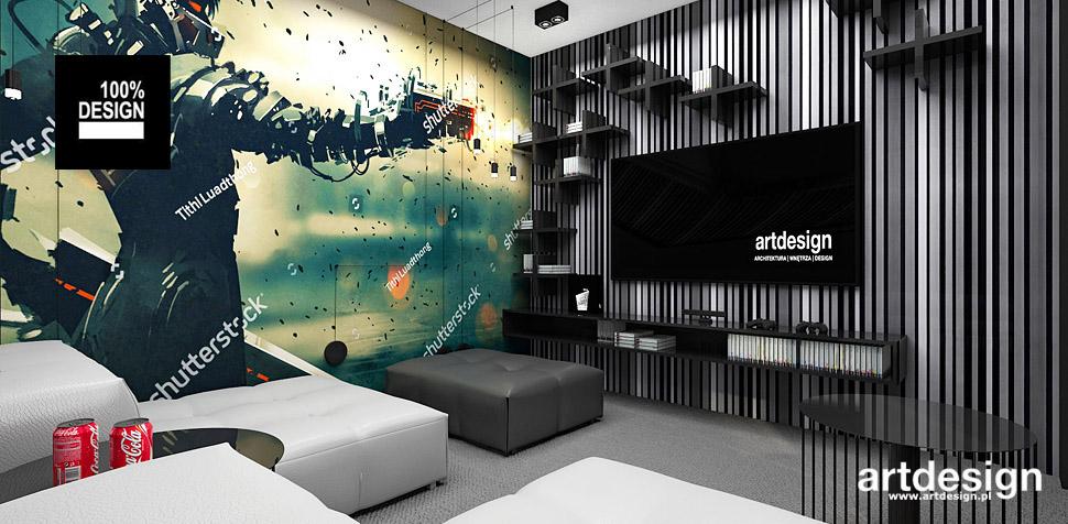 projekty wnętrz pokój kinowy telewizyjny