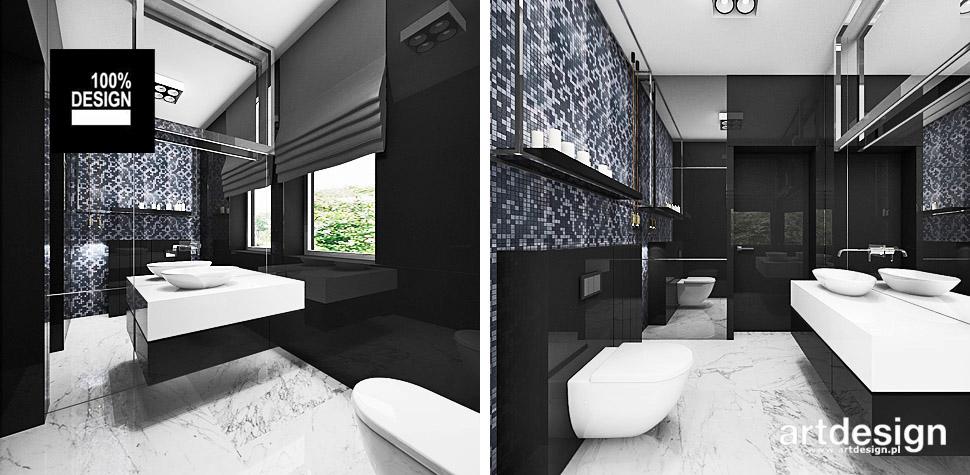 granatowo czarna łazienka projekt