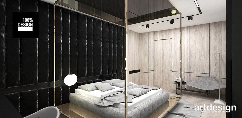 sypialnia drewno czerń projekt