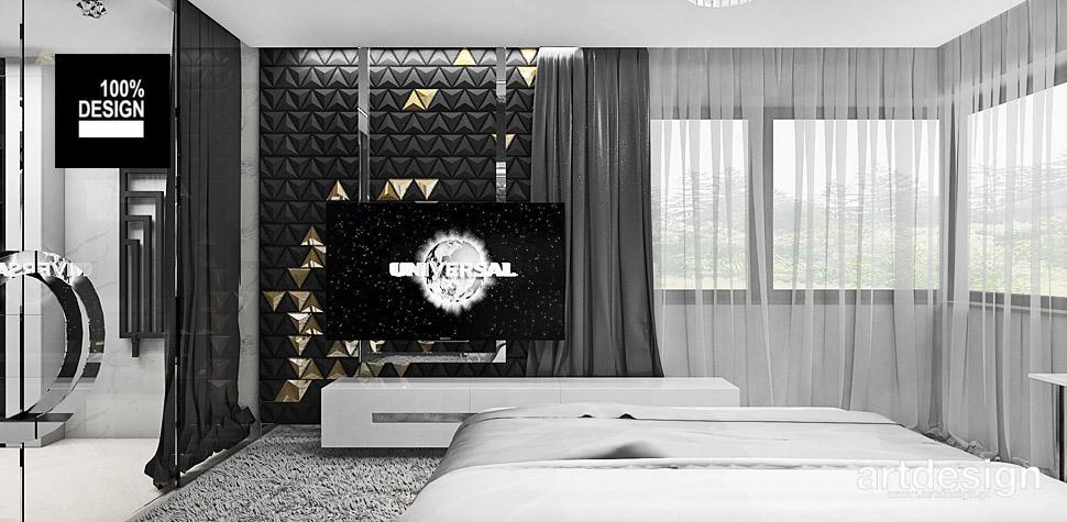 biało czarna sypialnia wnętrza