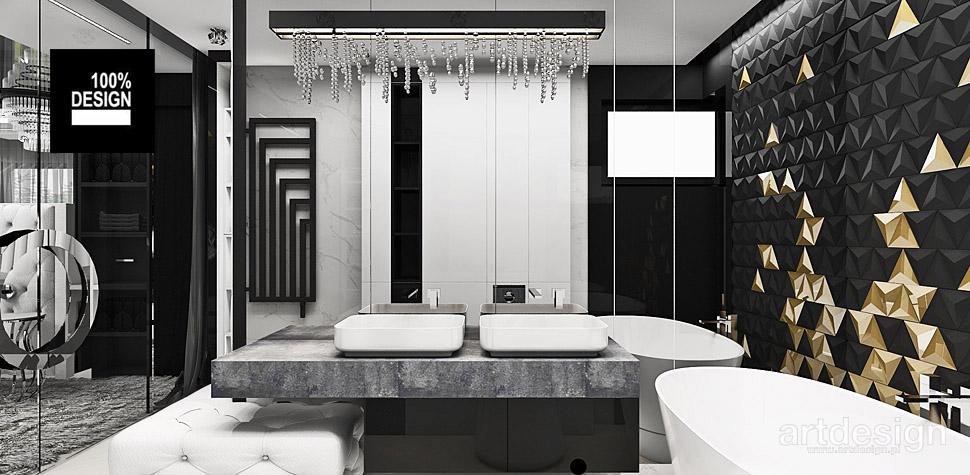 nowoczesna czarno złota łazienka