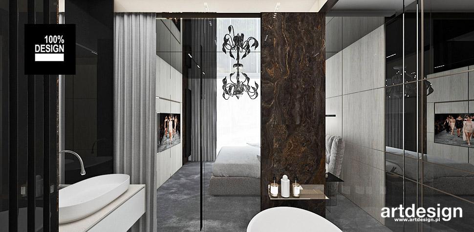 nowoczesna łazienka z sypialnia