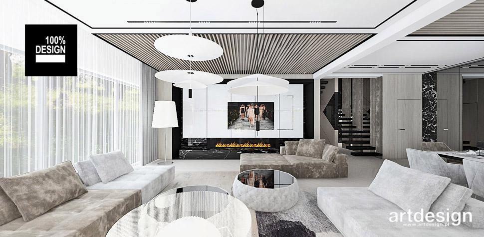 projekt nowoczesnego salonu wnętrza