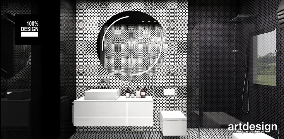 czarno biała łazienka projekt wnętrza