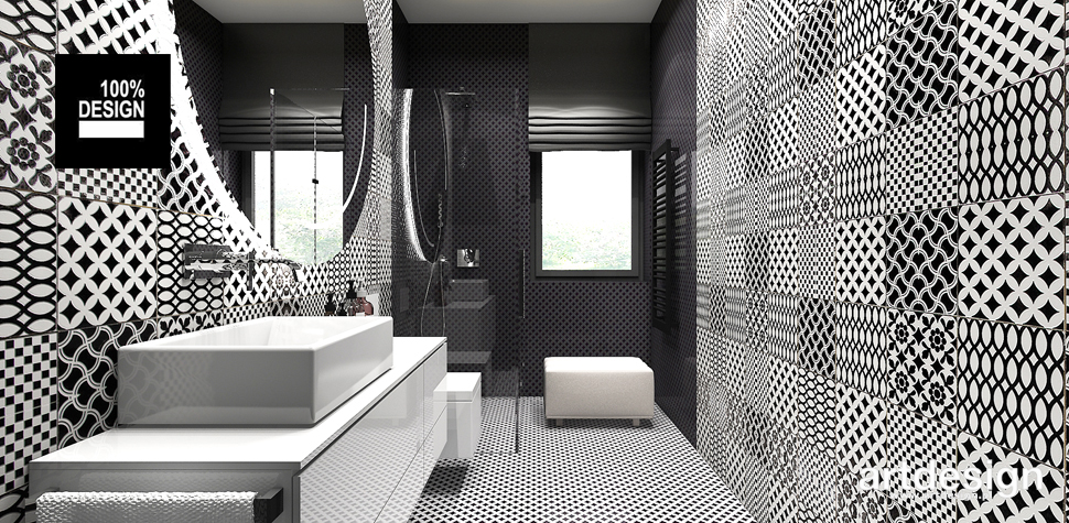 black and white projekt łazienki