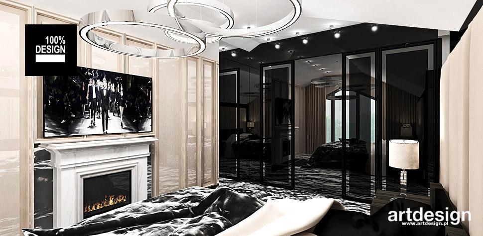 sypialnia z kominkiem wnętrza