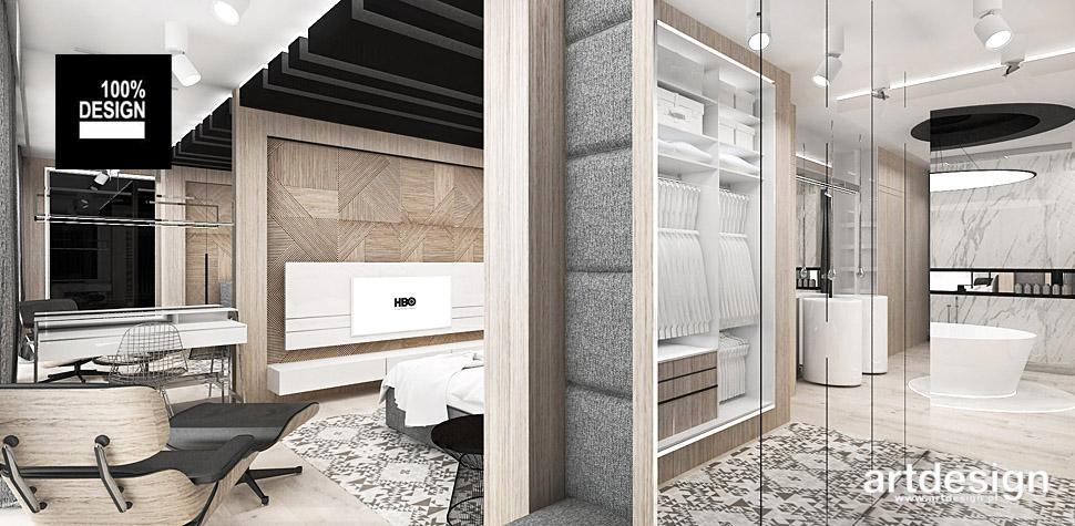 nowoczesna sypialnia z łazienka