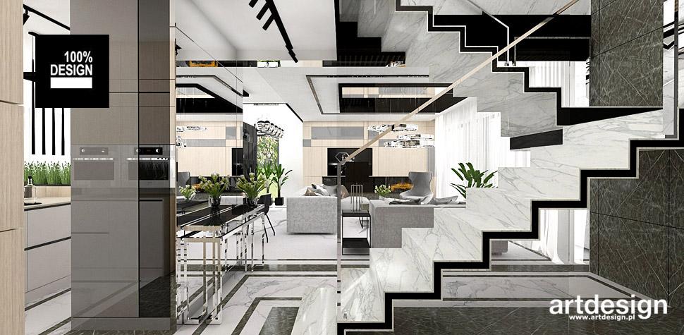 projekty wnętrz domów białe schody