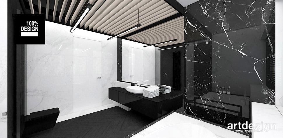 projekt biało-czarnej łazienki