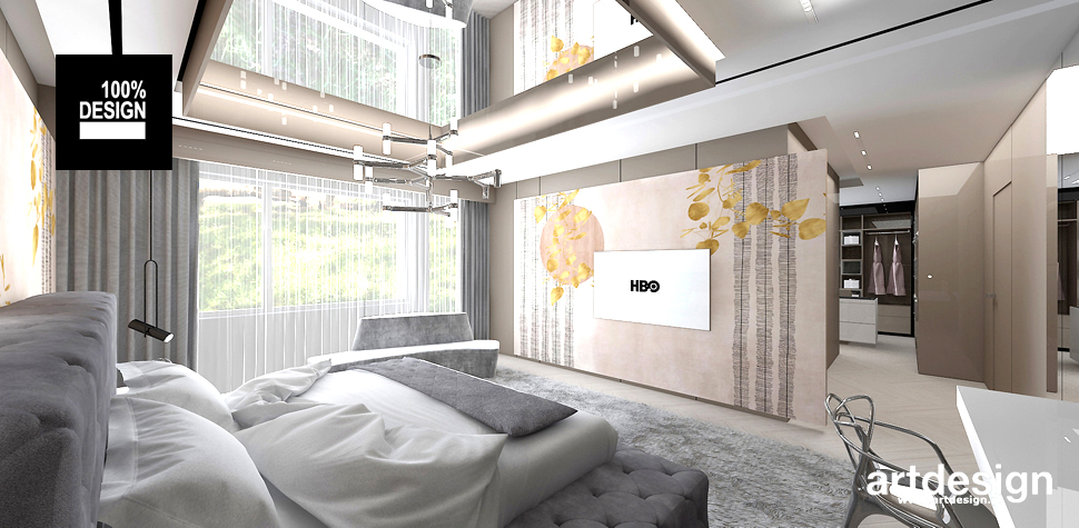 wnętrze sypialni miodowe kolory