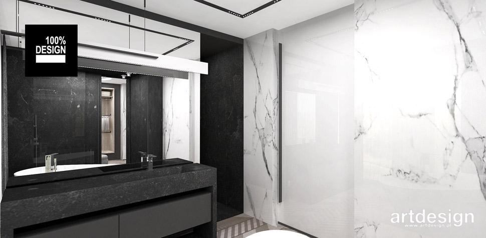 aranżacja biało czarna łazienka