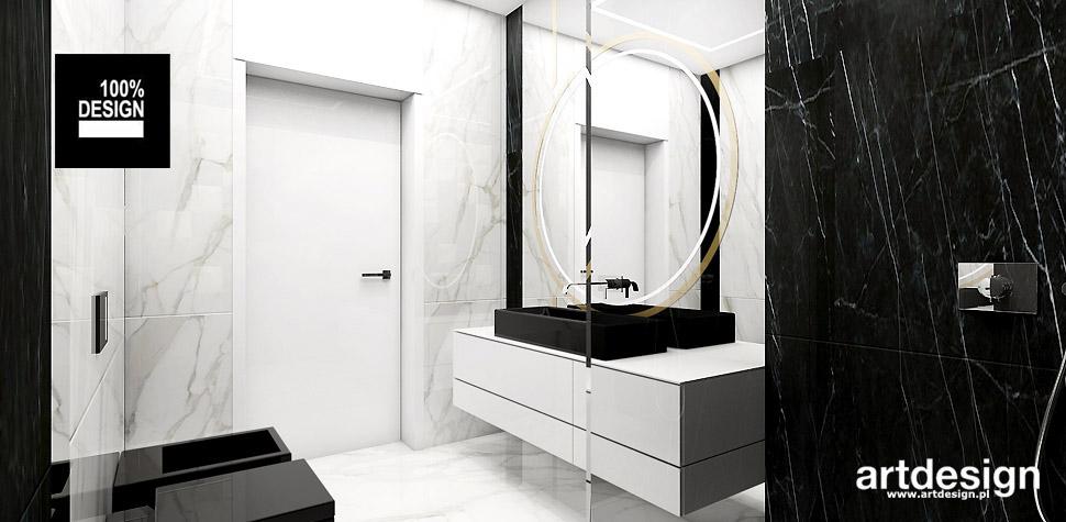 biało czarna łazienka wnetrza