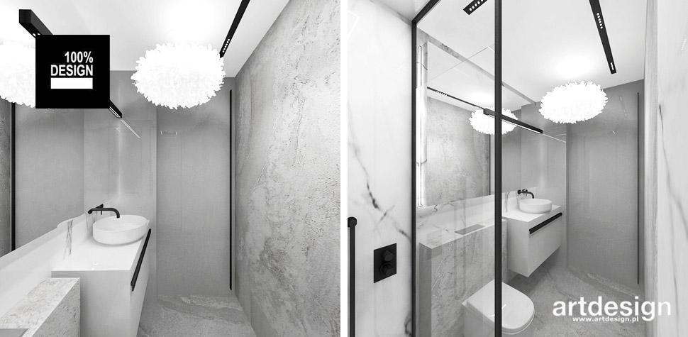 biała szara łazienka wnętrza
