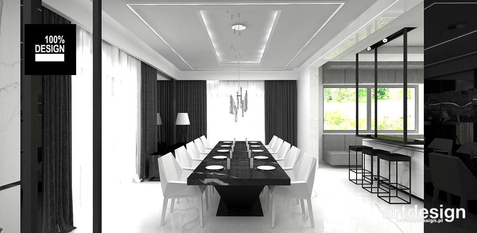 czarno-biała jadalnia