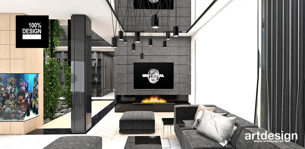 projekt salonu w stylu nowoczesnym