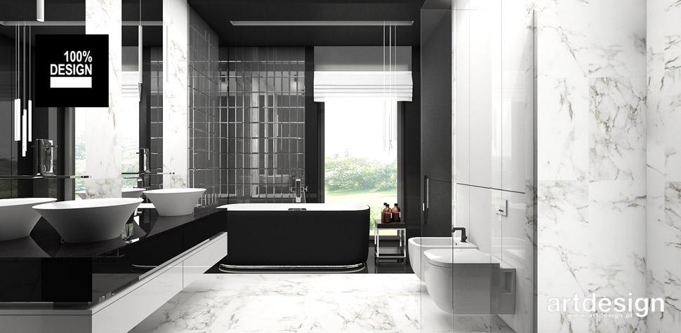 projekt biało-czarna łazienka