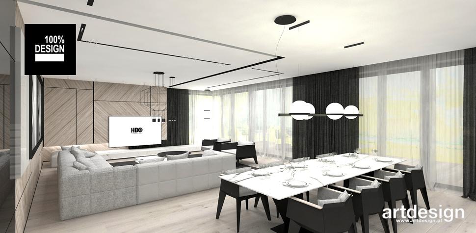 projekt salonu z jadalnią