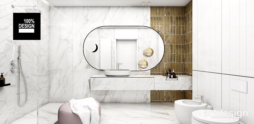 biało złota łazienka aranżacje
