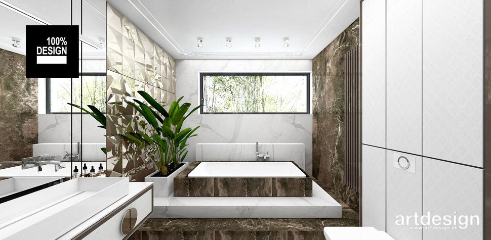 biało brązowa łazienka design wnętrz
