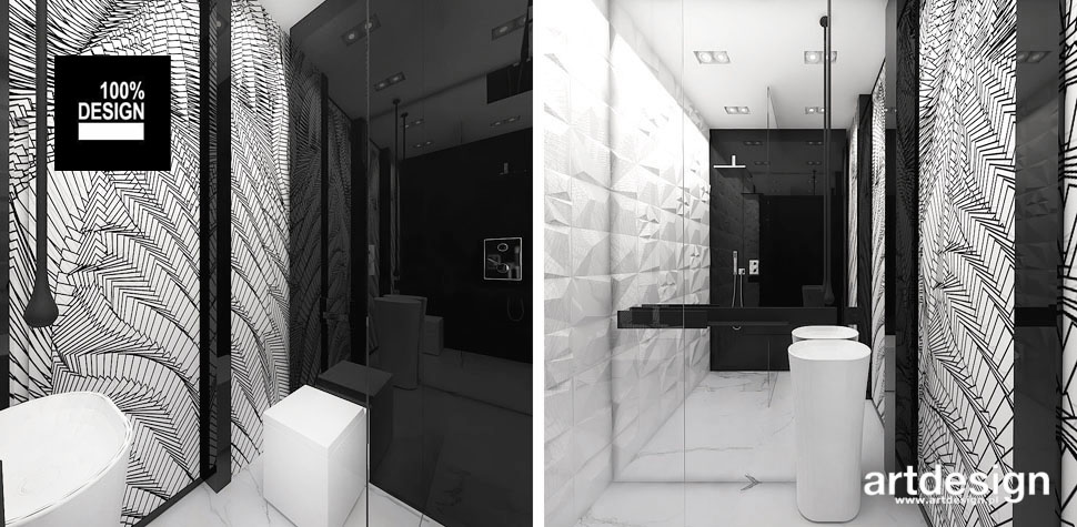 projekt łazienki czerń biel