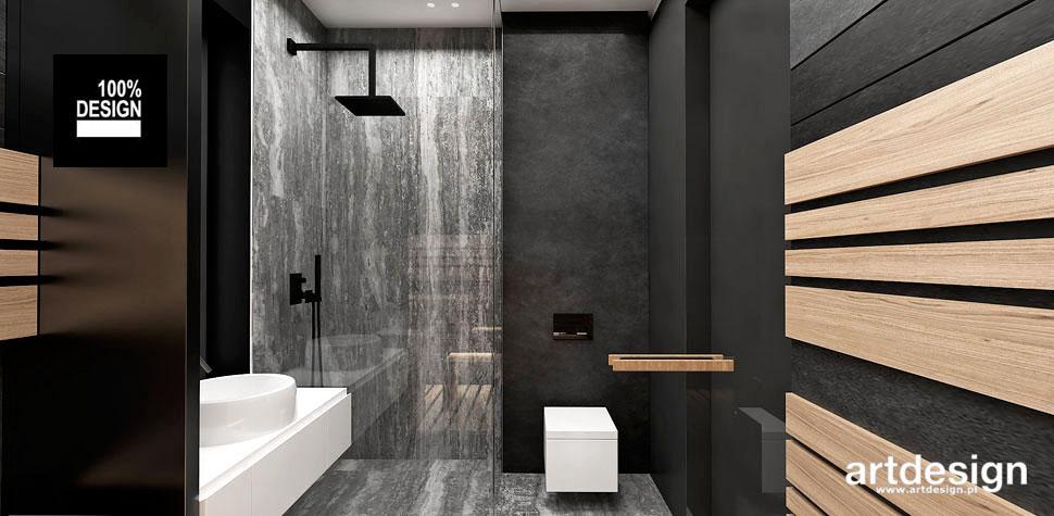projekt łazienki drewniane elementy