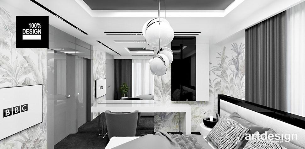 biało szara sypialnia wnetrza