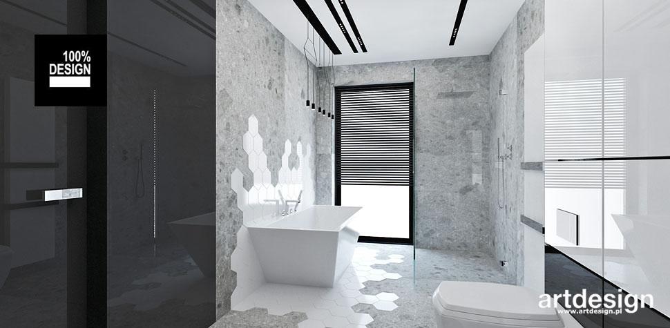 projekty łazienka szara biała