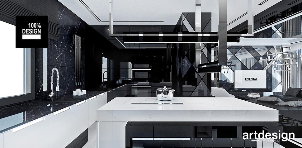 aranżacja kuchnia biało czarne wnetrza